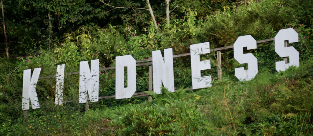 On the wooded hillside in Todmorden adjacent to a supermarket and its car park - as viewed from the car park.  The word 'kindness' in white letters and Hollywood font .