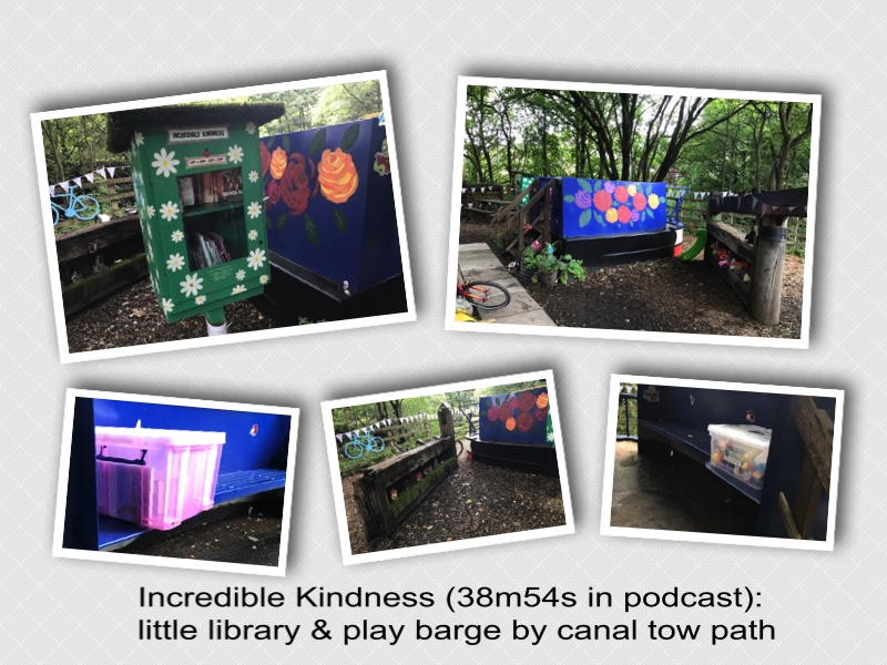 A collage of photographs depicting a little library and colourful play barge located adjacent to the Rochdale Canal's tow path on the boundary of Todmorden heading towards Hebden Bridge.